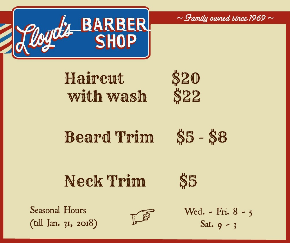 Lloyds Barbershop of Fort Collins Services and Hours 2018